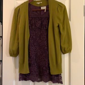 Halogen Nordstrom cardigan & lace top size XS/S